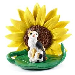 Japanese Bobtail Cat Sunflower Figurine