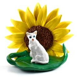 Oriental Short Haired  Cat Sunflower Figurine