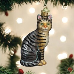 Tabby Cat Old World Christmas Ornament