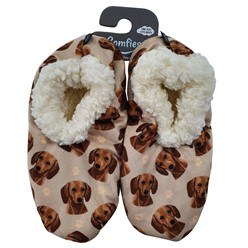 Dachshund Red Comfies Dog Print Slippers
