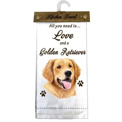Golden Retriever- All you Need is Love and a Golden Retriever Kitchen Towel