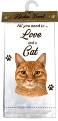 Orange Tabby- All you Need is Love and a Cat Kitchen Towel