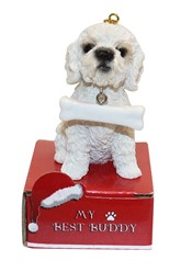 Poodle White My Best Buddy Christmas Ornament