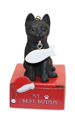 Black Cat My Best Buddy Christmas Ornament
