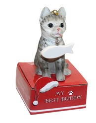 Silver Tabby Cat My Best Buddy Christmas Ornament