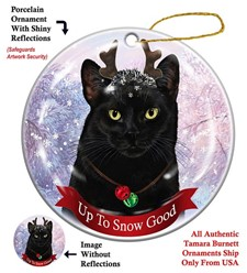 Black Cat Up To Snow Good Christmas Ornament