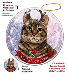 Brown Tabby Cat Up to Snow Good Christmas Ornament