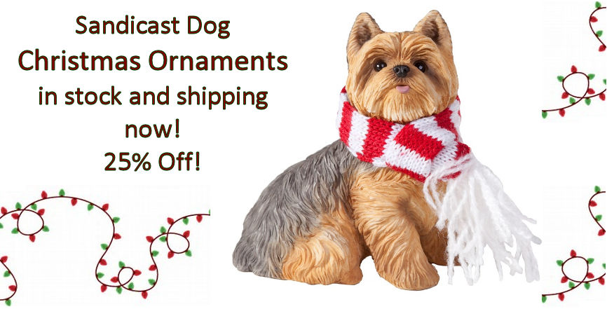 Yorkie Sandicast Holiday Ornament