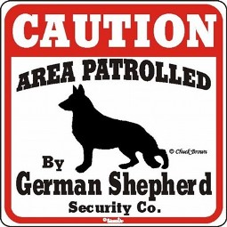 German Shepherd Caution Beware of Dog Sign