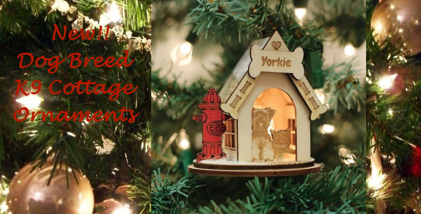 Old World Christmas Yorkie K9 Cottage Ornaments