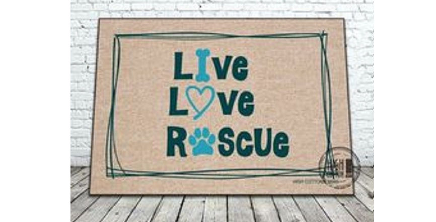 Live love rescue door mat