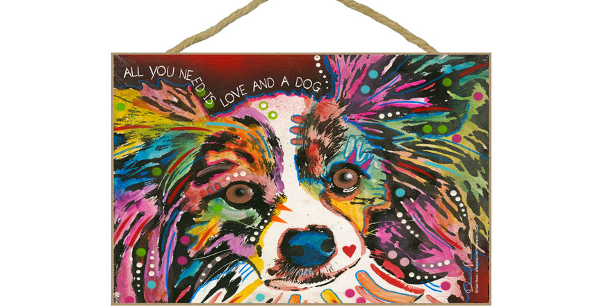 Papillon all you need is love and a dog pet sign