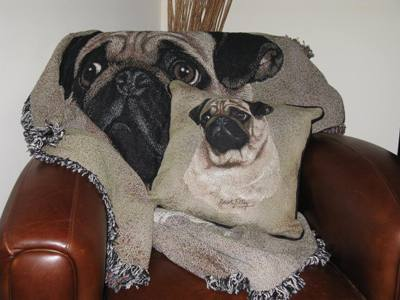 Pug Pillow with matching Throw