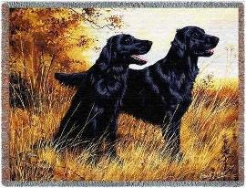 Flat Coated Retriever Woven Throw Blanket