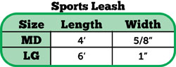 Sport leash size chart