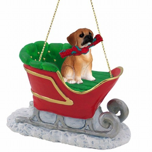 Raining Cats And Dogs Puggle Sleigh Christmas Ornament