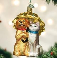 Old World Christmas Dog and Cat Ornaments